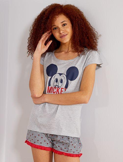 b26dc587d898 Pijama corto 'Mickey' Lencería de la s a la xxl - gris - Kiabi - 11,00€