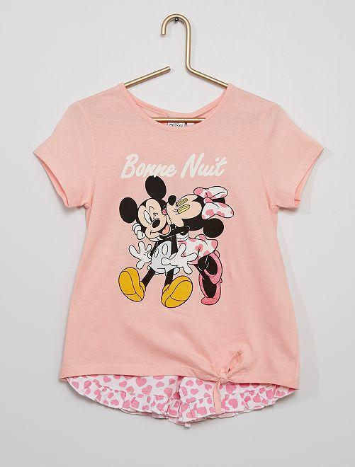 Pijama corto 'Mickey y Minnie'                     rosa/blanco