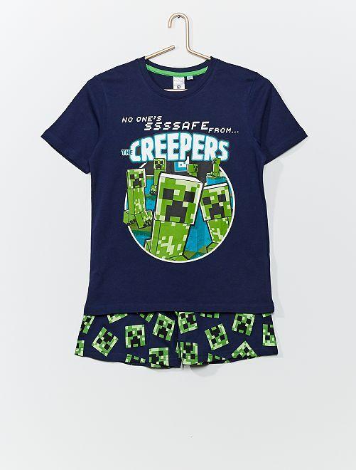 Pijama corto 'Minecraft'                             azul marino