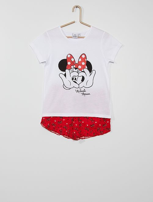 Pijama corto 'Minnie'                     blanco/rojo