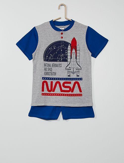 Pijama corto 'NASA'                                         gris/azul