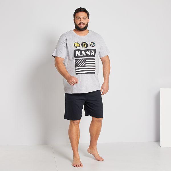 Pijama Corto Nasa Tallas Grandes Hombre Gris Negro Kiabi 23 00