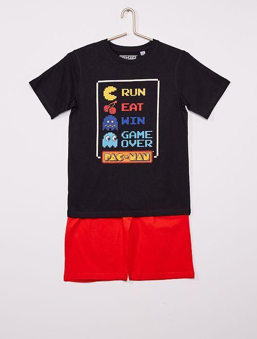 Pijama corto 'Pac-Man'                             negro/rojo
