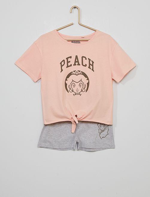 Pijama corto 'Peach'                             rosa/gris