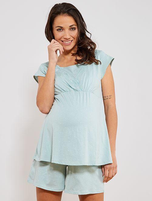 Pijama corto premamá algodón eco                             AZUL