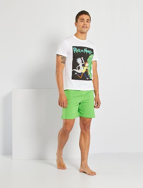 Pijama corto 'Rick y Morty'                             blanco/verde