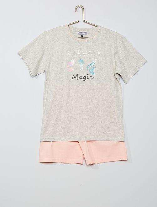 Pijama corto 'sirena'                                         gris claro