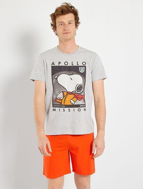 Pijama corto 'Snoopy'                             gris/naranja