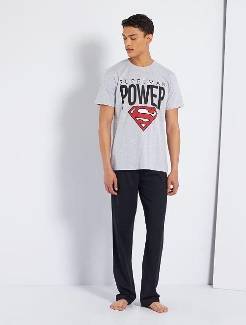 Pijama corto 'Superman' 'DC Comics'                             negro/gris