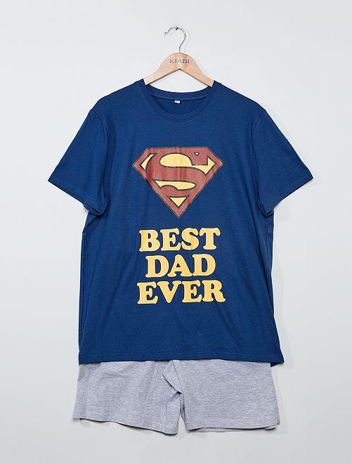 Pijama corto 'Superman'                             marino/gris