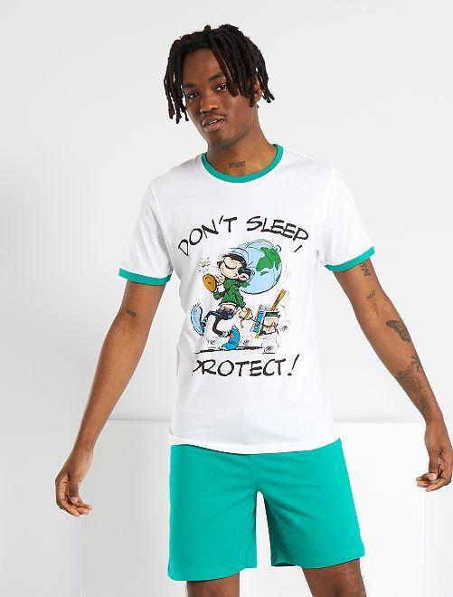 Pijama corto 'Tomás el gafe'                             blanco/verde