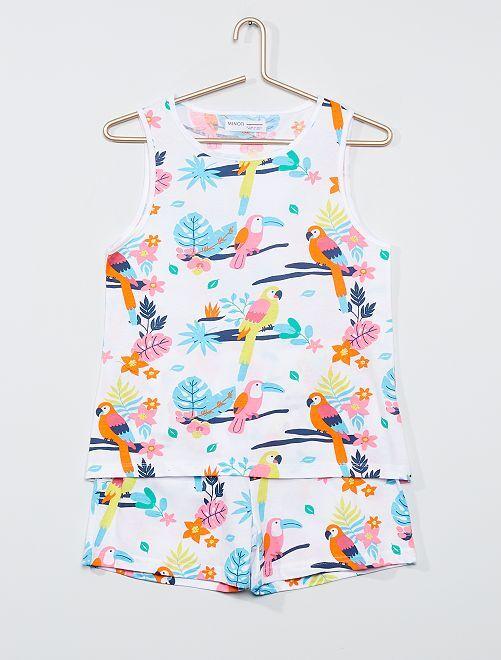Pijama corto 'tropical'                             BLANCO