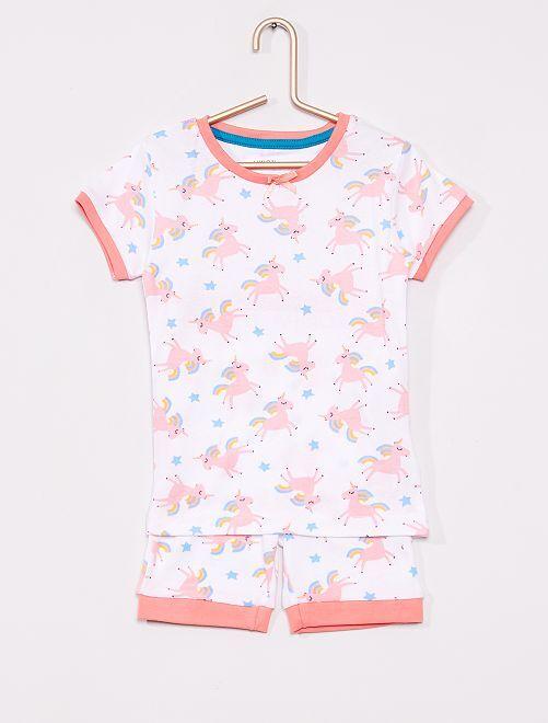 Pijama corto 'unicornio'                             blanco/rosa
