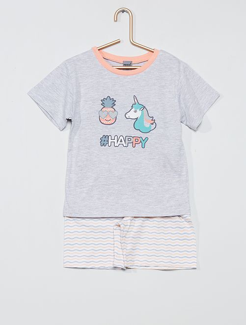 Pijama corto 'unicornio'                                         gris