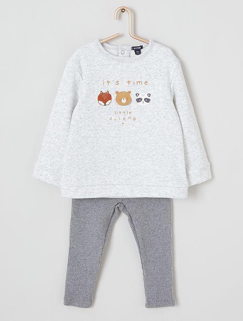 Pijama de 2 piezas 'animales'                                         GRIS