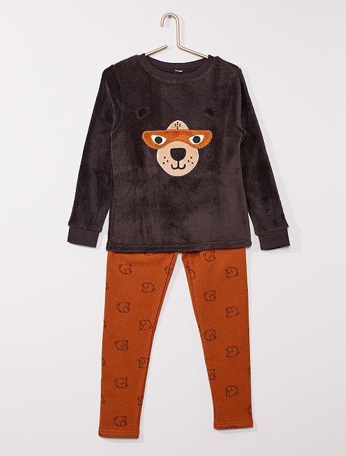 Pijama de 2 piezas con camiseta de tejido polar                     NARANJA