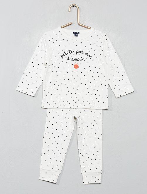 Pijama de 2 piezas con mensaje                                         BLANCO