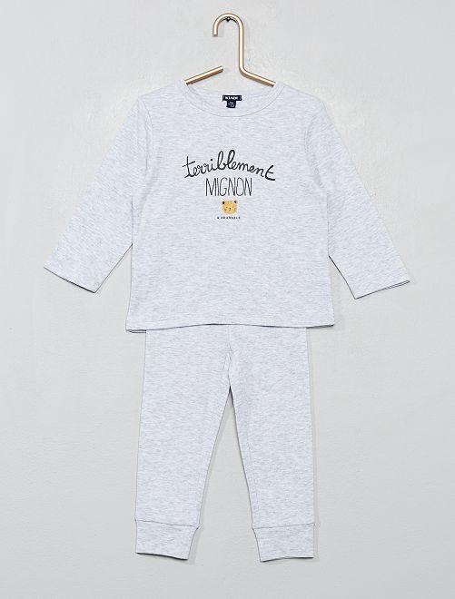 Pijama de 2 piezas con mensaje                                         gris