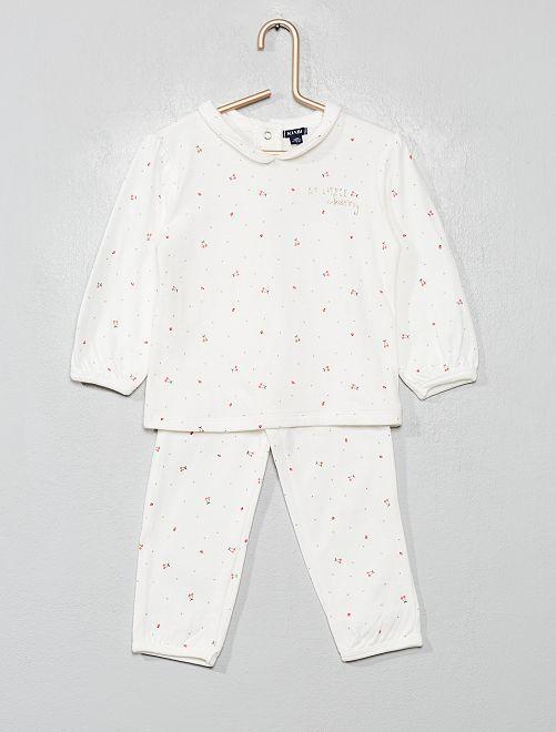 Pijama de 2 piezas estampado 'cerezas'                             BLANCO