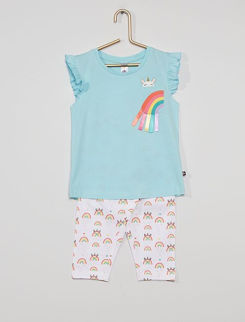 Pijama de 2 piezas 'unicornio'                             azul/blanco