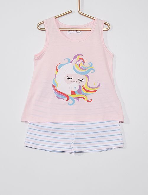 Pijama de 2 piezas 'unicornio'                             rosa