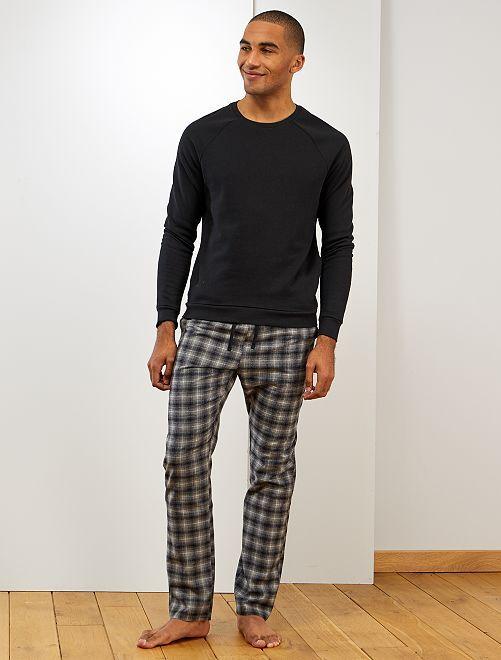 Pijama de cuadros                             negro a cuadras