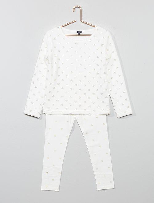 Pijama de dos tejidos                             BLANCO