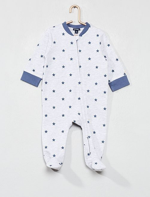 Pijama de felpa estampado                                         GRIS Bebé niño