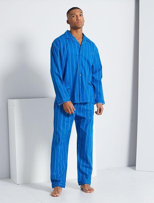 Pijama de franela a cuadros                                         azul