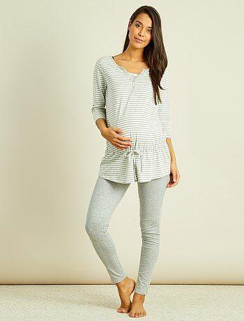 Pijama de premamá con top de lactancia integrado - Kiabi