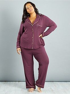 Pijamas, babydoll - Pijama de punto con corbata estampada