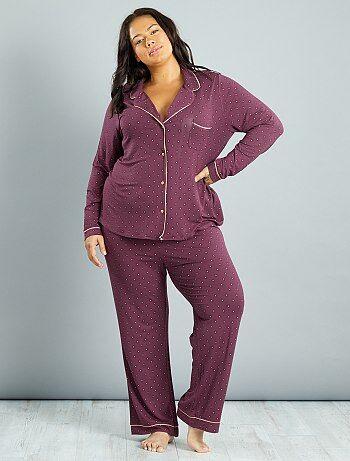 Tallas grandes mujer - Pijama de punto con corbata estampada - Kiabi