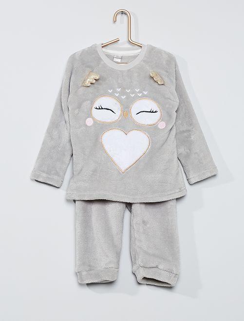 Pijama de punto de felpa 'lechuza'                             gris