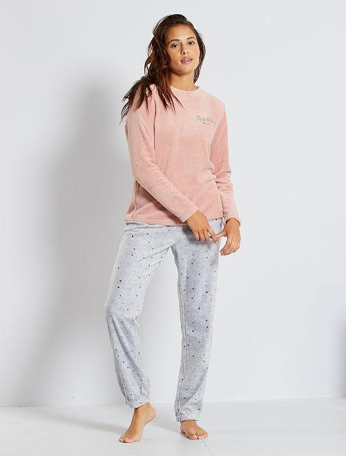 Pijama de punto de felpa                                                                 ROSA