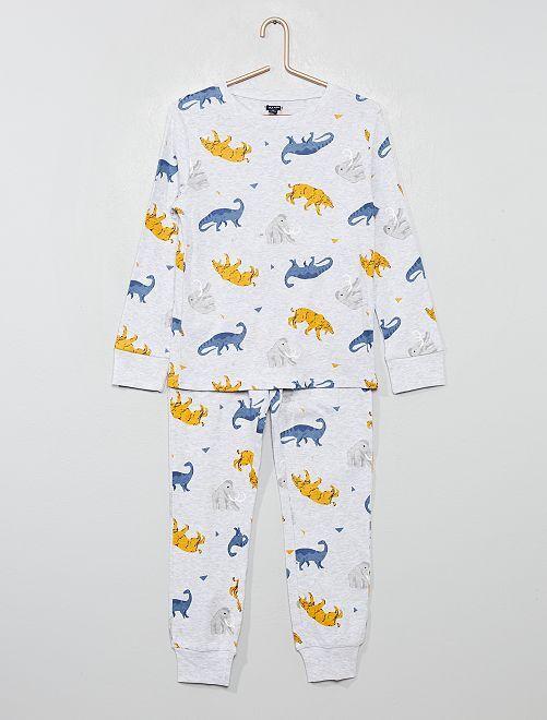Pijama de punto estampado                                                                                         GRIS