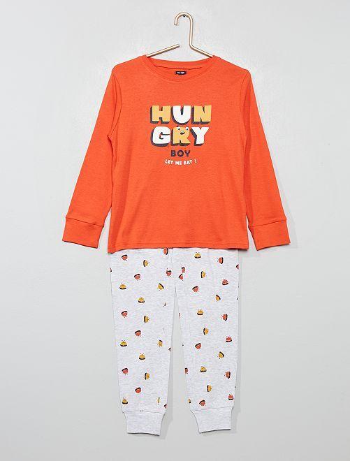 Pijama de punto estampado                                                                 NARANJA