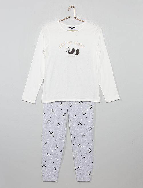 Pijama de punto 'gato unicornio' brillante                                         BLANCO