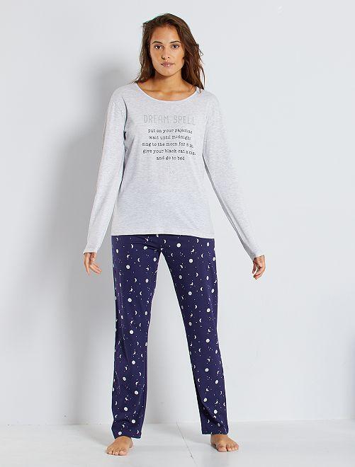 Pijama de punto                                         gris/marino