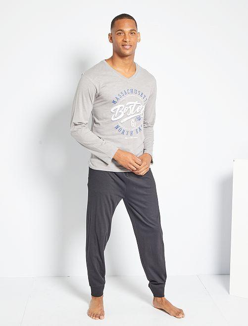 Pijama de punto                                         gris/negro