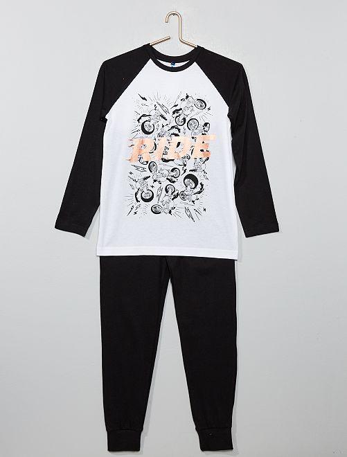 Pijama de punto 'moto'                                         blanco/negro