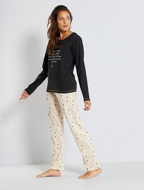 Pijama de punto                                         negro/beige