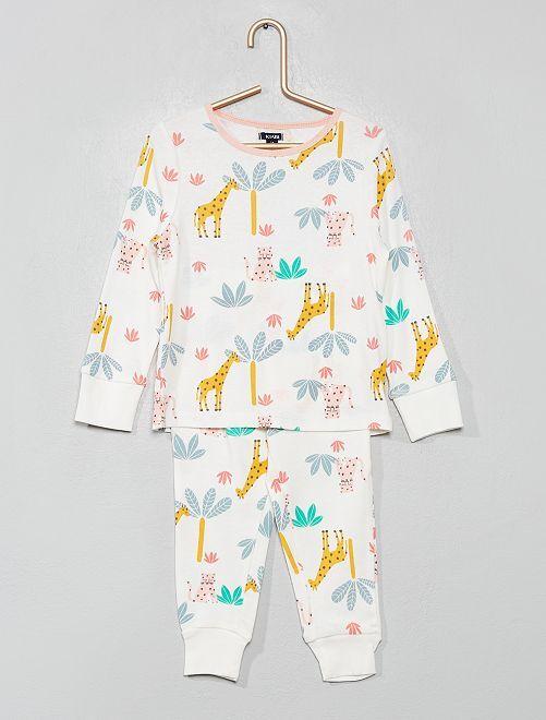 Pijama de puro algodón 'unicornio'                                                                 BLANCO