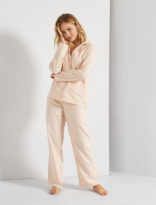 Pijama de rayas de 2 piezas                             ROSA