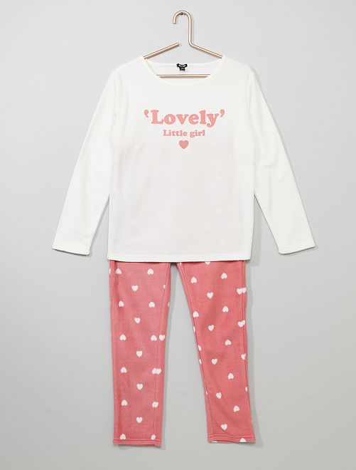 Pijama de tejido polar 'corazones'                                                                 BLANCO Chica