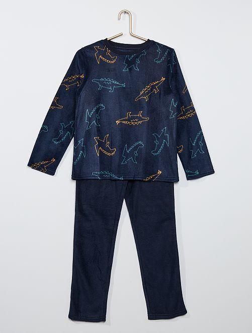 Pijama de tejido polar estampado                                                     AZUL