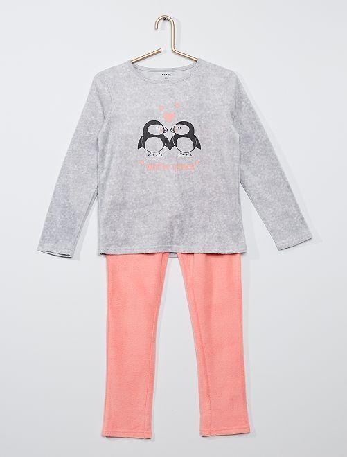 Pijama de tejido polar estampado                                                                 pingüino