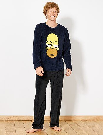 Hombre talla S-XXL - Pijama de tejido polar 'Homer Simpson' - Kiabi