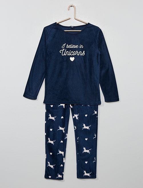 Pijama de tejido polar                                                     NEGRO