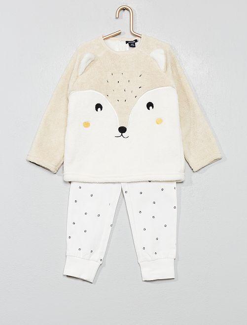 Pijama de tejido polar y punto                                         BLANCO