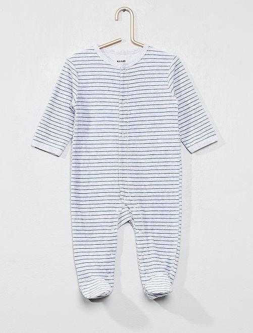 Pijama de terciopelo a rayas                             GRIS Bebé niño